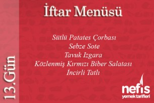 Ramazan 13.Gün İftar Menüsü Tarifi