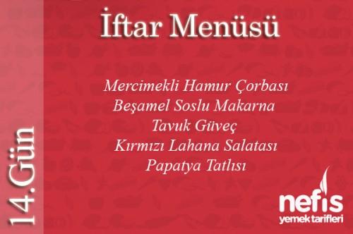 Ramazan 14.Gün İftar Menüsü Tarifi