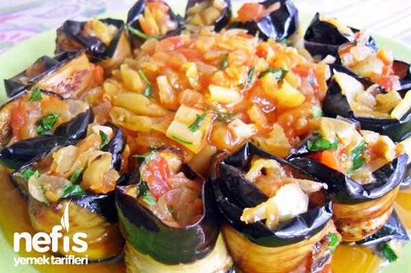 Sebzeli Patlıcan Sarma Tarifi