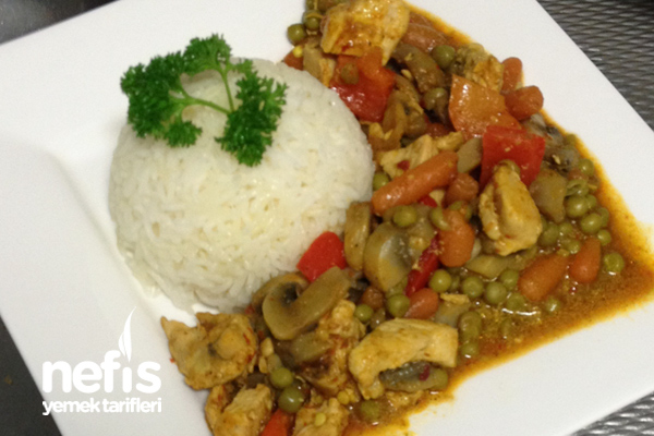 Sebzeli Tavuk ile Pilav (Basmati Pirinç)