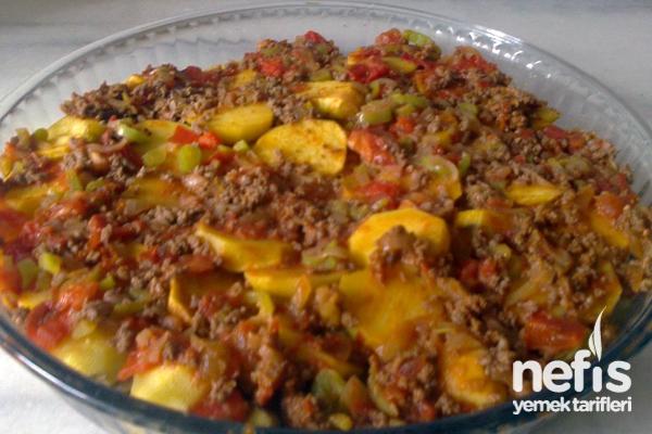 Fırında Patlıcanlı Patates Tarifi