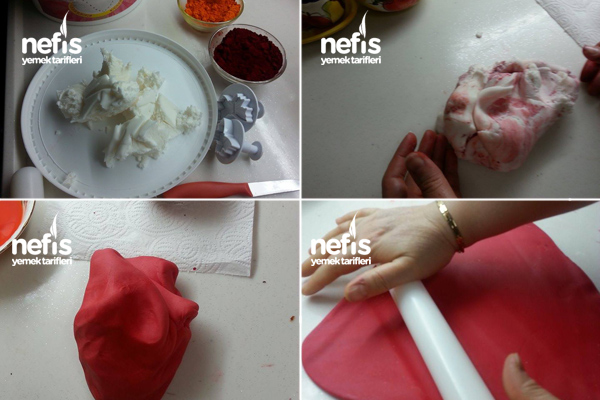 Hello Kitty'li Şeker Hamurlu Doğum Günü Pastası 1