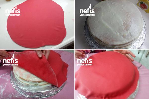 Hello Kitty'li Şeker Hamurlu Doğum Günü Pastası 2