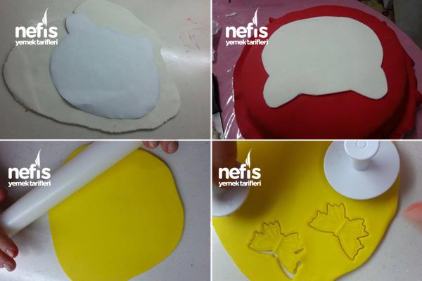 Hello Kitty'li Şeker Hamurlu Doğum Günü Pastası 3