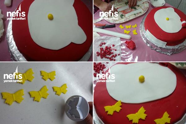 Hello Kitty'li Şeker Hamurlu Doğum Günü Pastası 4