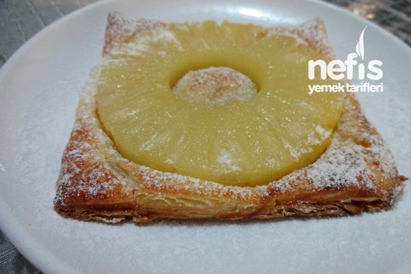 Milföy Hamurundan Ananaslı Çiçek Tatlısı 5