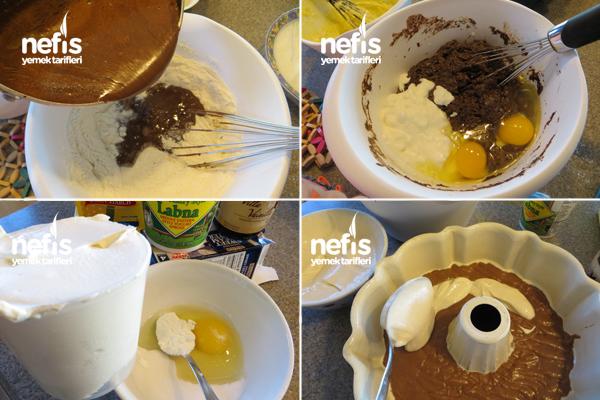 Içi Krem Peynirli (cheesecake'li) Kakaolu Kek 1