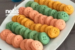 Renkli Düğme Kurabiyeler