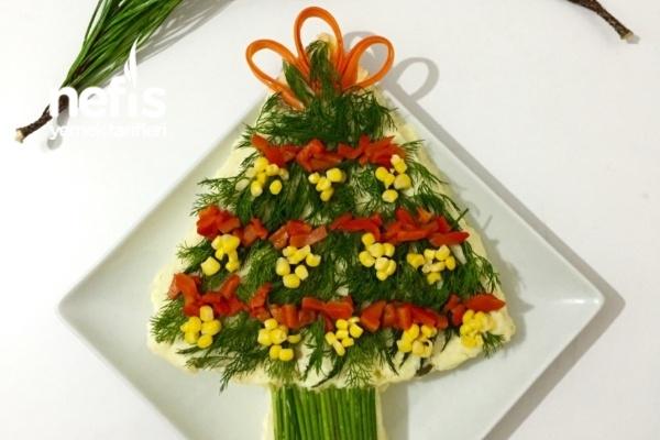 Yılbaşı Ağacı Salatası (Yılbaşı Yemek Fikirleri) Tarifi
