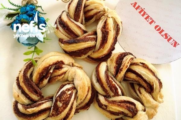 5 Dk Da Milföyden Çikolatalı Çelenk Tarifi