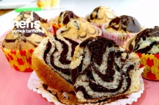 Muffin Kalıbında Zebra Kek Tarifi