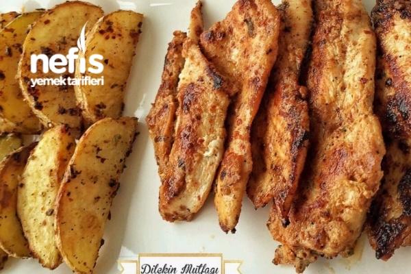 Tavada Izgara Tavuk Ve Fırında Elma Dilimi Patates Tarifi
