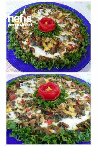 Kahvaltıya Nefis Sebzeli Mantarlı Omlet