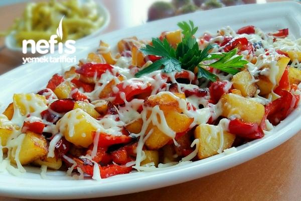 Kaşarlı Patatesli Kırmızı Biber