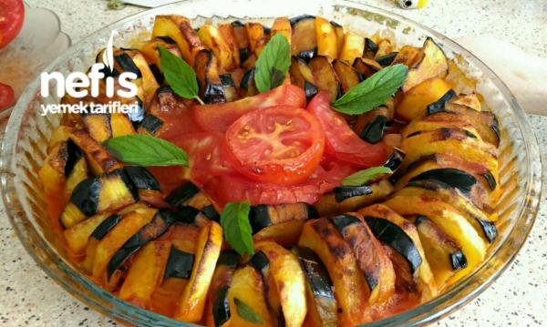 Fırında Patatesli Patlıcan Dizme