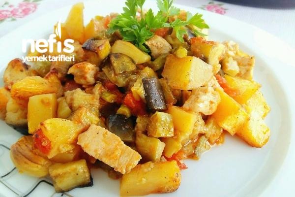Sebzeli Tavuk Kebabı (Kızartarak) Tarifi