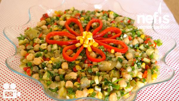 Nohutlu Mercimekli Gün Salatası Videosu Tarifi
