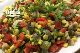 Köz Biberli Mantar Salatası (videolu) Tarifi