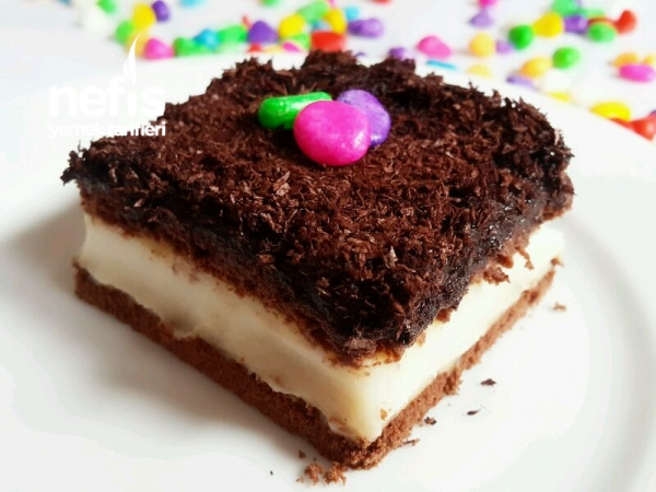 Çikolatalı  Muhallebili Pasta (videolu) Tarifi