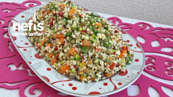 Bulgurlu Yeşil Mercimek Salatası