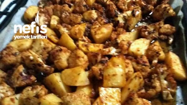 Fırında Harika Soslu Kaşarlı Karnabahar Patates
