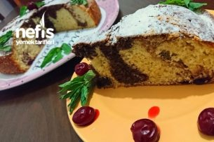 Pamuk Ebruli Kek (Portakal-Vişne-Tarçın Aromalı) Tarifi