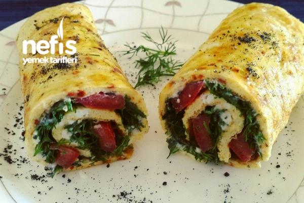 Peynirli Dereotlu Domatesli Omlet Sarma Tarifi
