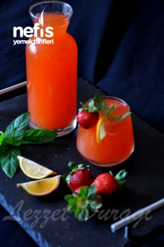 20 Ad Çilek Ve 1 Ad Limon Dan Mis Gibi Çilekli Limonata