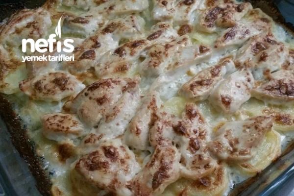 Fırında Kremalı Tavuk Ve Patates Tarifi