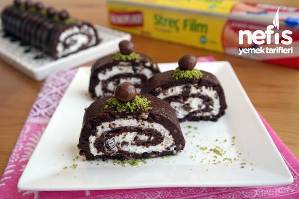 Bisküvili Rulo Pasta – Pişmeyen pratik pasta tarifi Tarifi