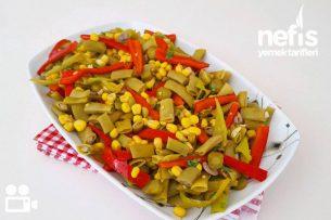 Rengarenk Yeşil Fasulye Salatası Videolu Tarifi