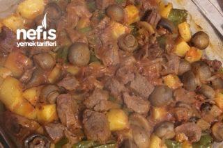 Nefis Etli Mantarlı Fırında Patates Tarifi