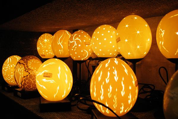 deve kuşu yumurtası lambası