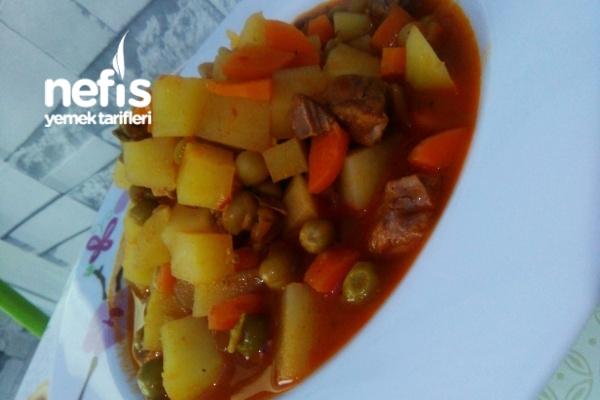 Etli Bezelyeli Patates Yemeği (Et Pişirmenin Püf Noktasıyla)
