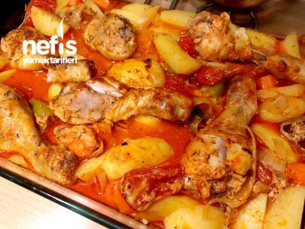 Fırın Poşetinde Harika Soslu Baget Tavuk Ve Patates