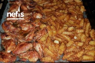 Nefis Soslu Tavuk Kanat Ve Patatesleri Tarifi