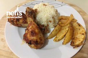 Fırında Soslu Tavuk But Ve Patates Dilimleri Tarifi