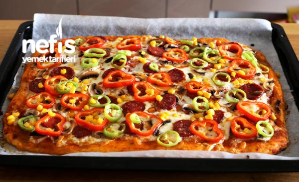 Ekmek Hamurundan Tepsi Pizzası (Videolu)