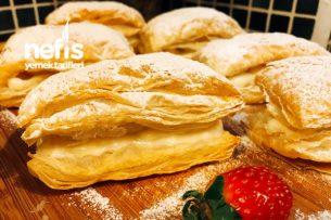 Kremalı Muzlu Milföy Pasta (Çok Lezzetli) Tarifi