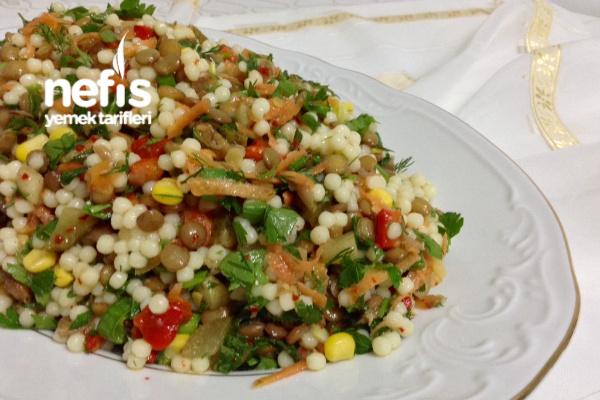 Yeşil Mercimekli Kuskus Salatası (Lezzeti Şahane) Tarifi