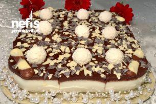 Çikolata Ganajlı Muhallebili Pasta Tarifi