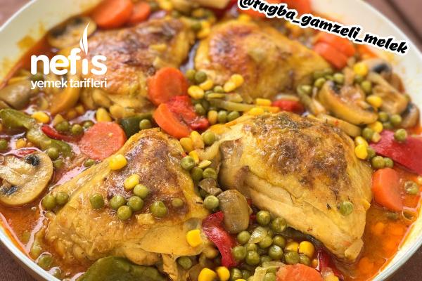 Kremalı Körili Sebzeli Tavuk (Tavada) Tarifi