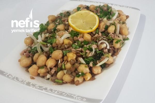 Ton Balıklı Yeşil Mercimekli Diyet Salata Tarifi
