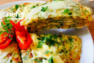 Sebzeli Peynirli Krep Pasta Tarifi
