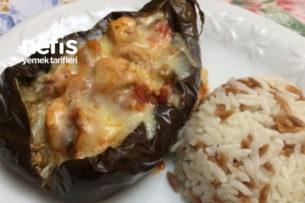 Közlenmiş Patlıcanlı Kaşarlı Tavuk Tarifi
