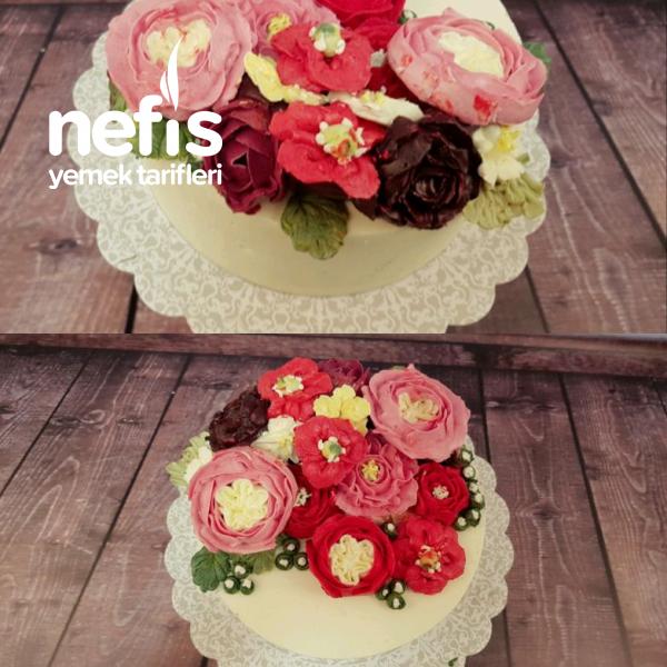 Motivli Kremalı Çiçekli Pasta (Basic Pasta)