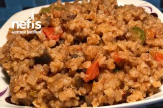 Patlıcanlı-Mantarlı Bulgur Pilavı Tarifi