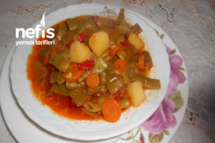 Zeytinyağlı Havuçlu Patatesli Taze Fasulye Yemeği Tarifi