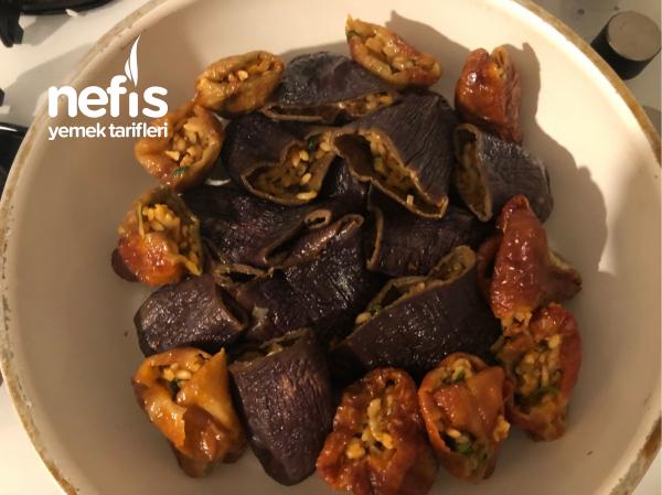 Cevizli Kuru Patlıcan Biber Dolması (zeytinyağlı)