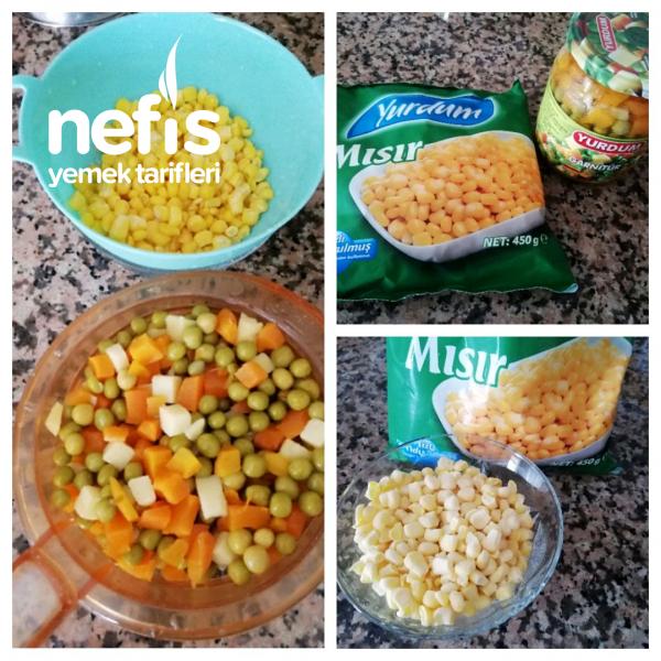 Garnitürlü Erişteli Yeşil Mercimek Salatası